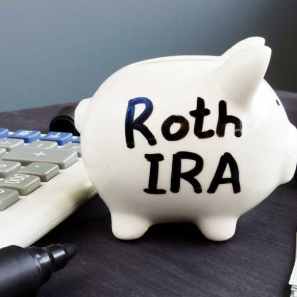 piggy bank with Roth IRA painted on the side