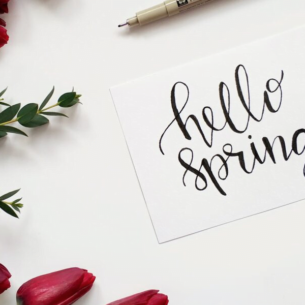Hello Spring card with roses and a pen