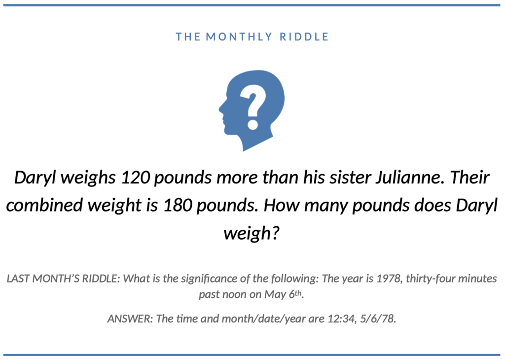 Monthly Riddle December